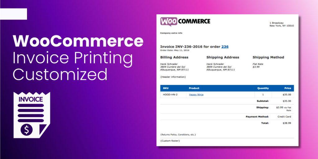 WooCommerce Invoice Printing Customized