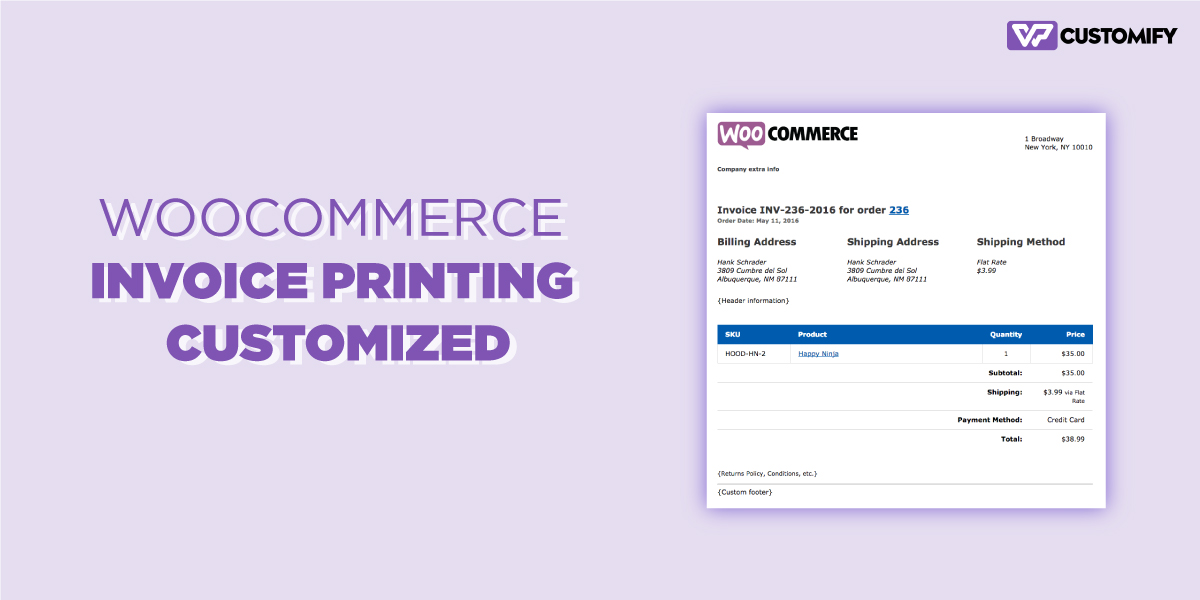 woocommarce invoice printing customized