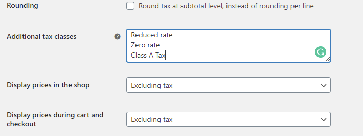 Additional tax classes Settings