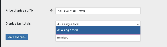 Display Tax Totals Settings