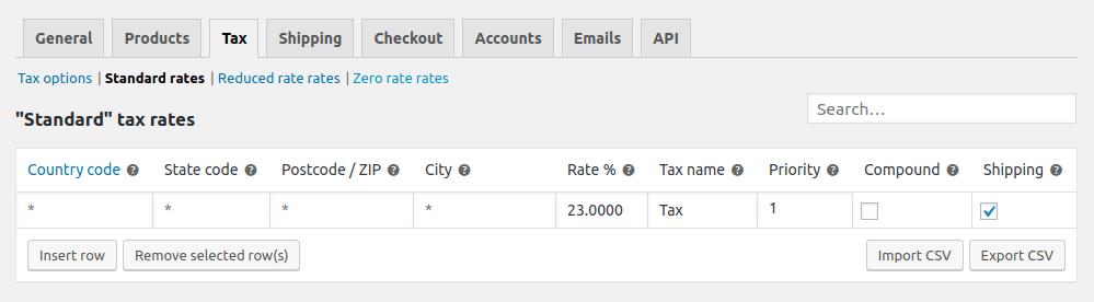 Standards Tax Rates
