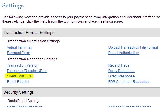Transaction Format Settings